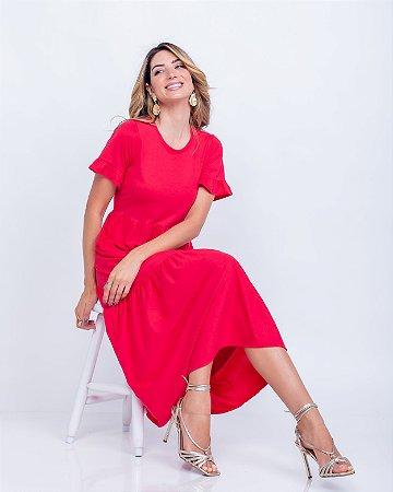 Vestido Malha gola careca Nani midi vermelho