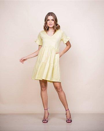 Vestido Malha gola v Nani curto amarelo c/ bolso