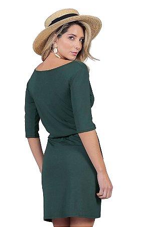 Vestido Flávia malha visco verde musgo