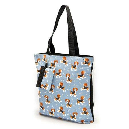 Bolsa de Ombro Passeio com Chaveiro Pets Beagle Cinza G