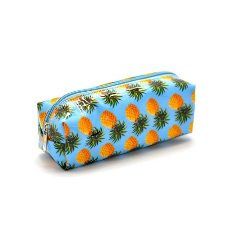 Estojo Escolar Simples G PVC Abacaxi Tropical Azul