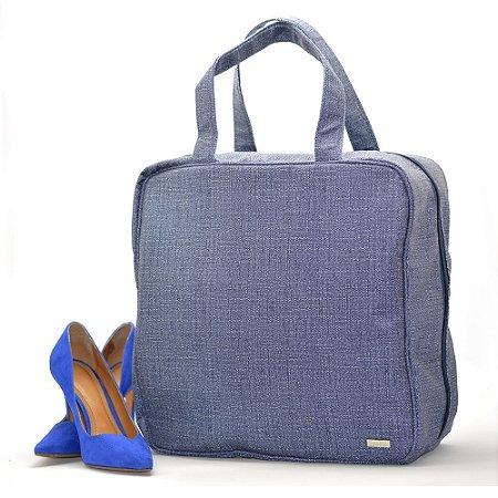 Bolsa Necessaire Sapato Viagem 6 Pares Sapateira Azul
