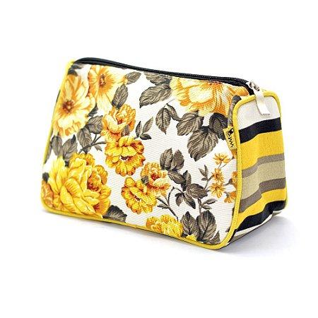 Necessaire Trapézio Floral Amarelo