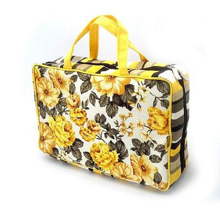 Organizadora de Mala Múltiplas Divisórias Amarelo Floral