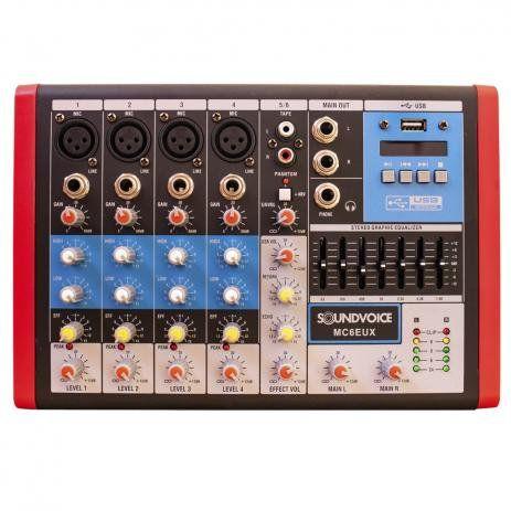 Mesa De Som Compacta 6 Canais Soundvoice MC6 EUX