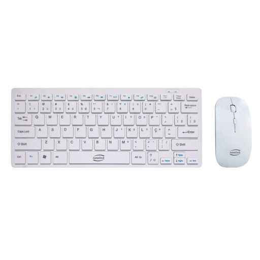 Combo Teclado E Mouse Sem Fio Ultra Slim Ck104 Newlink Branco