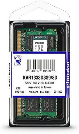 Memória RAM 8GB SODIMM DDR3 1333Mhz 1,5V para notebook - KVR1333D3S9/8G