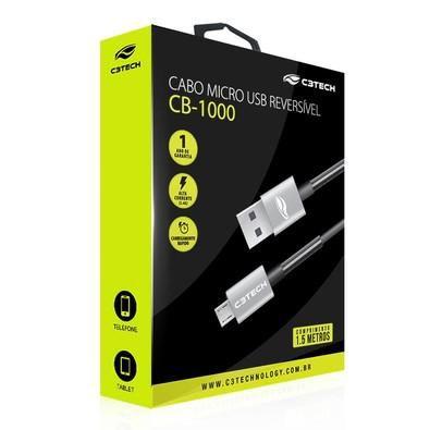 Cabo USB-Micro USB 1,5m CB-1000GY - C3Tech