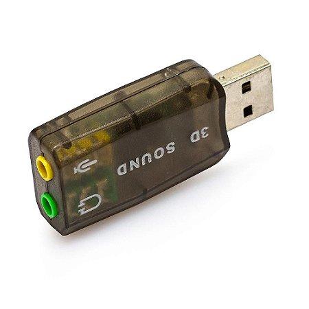 Adaptador Placa De Som USB 5.1 Virtual