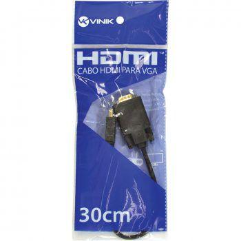 Cabo HDMI 19 Pinos Macho para VGA 15 Pinos Macho 30cm - Vinik