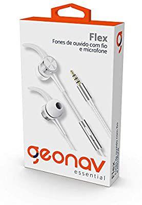 Fone de Ouvido Flex com fio, com microfone imãs nas cápsulas Branco - Geonav