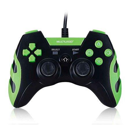 Controle Gamer Ps3/PC Preto/Verde Js091 - Multilaser