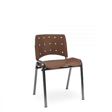 Cadeira Fixa Plástica Empilhável Ergoplax - Marrom