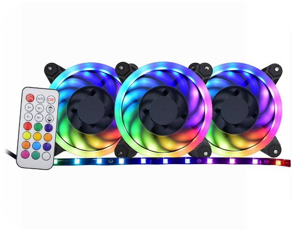 Kit 3 Fans Cooler Speed Control Argb Rainbow Af-j1225 - K-mex