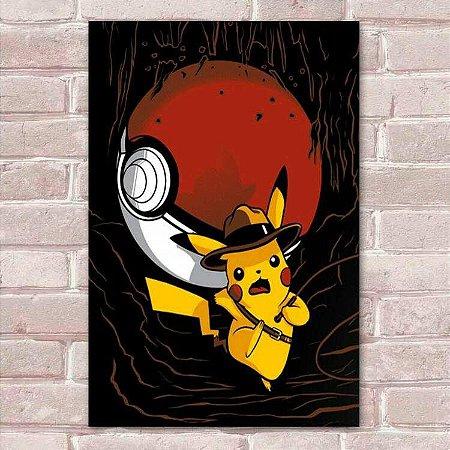 Placa Decorativa Pikachu Indiana Jones