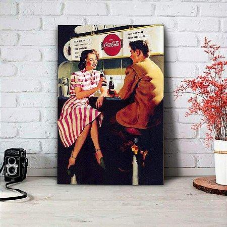 Placa Decorativa Retrô Casal Bebendo Coca Cola