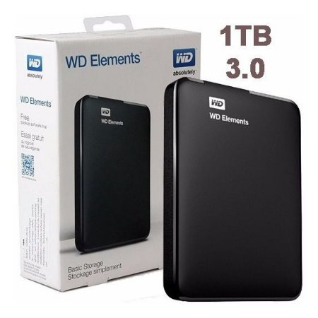 HDD EXTERNO 1TB WESTERN DIGITAL ELEMENTS PRETO PORTATIL USB