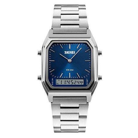 Relógio Unissex Skmei AnaDigi 1220 - Prata e Azul