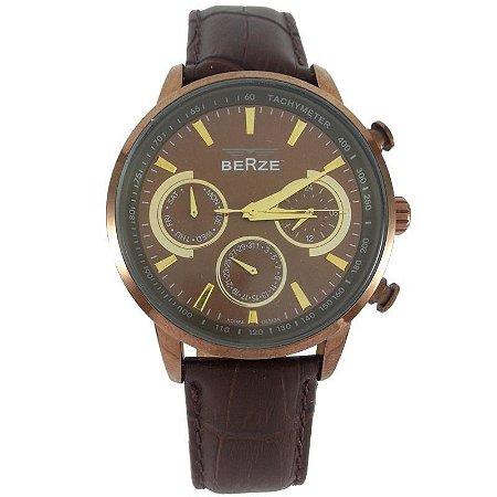Relógio Masculino Analógico Berze BS024 Marrom-