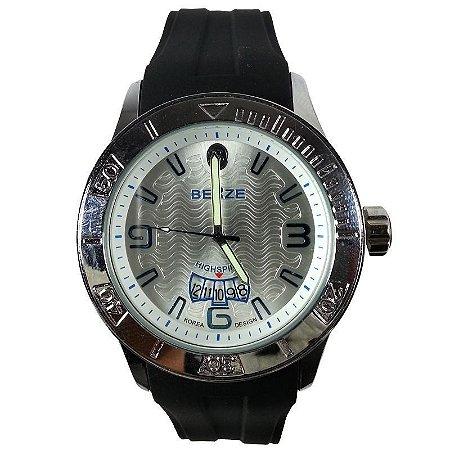 Relógio Masculino Analógico Social Berze BT164 Preto e Prata-