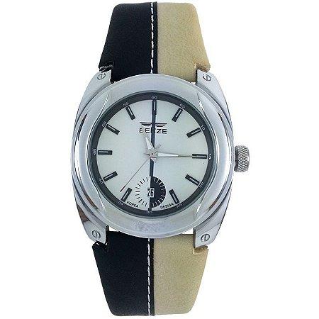 Relógio Masculino Analógico Social Berze BT169M Preto e Bege-