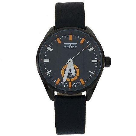 Relógio Masculino Analógico Social Berze BT170M Preto e Laranja-