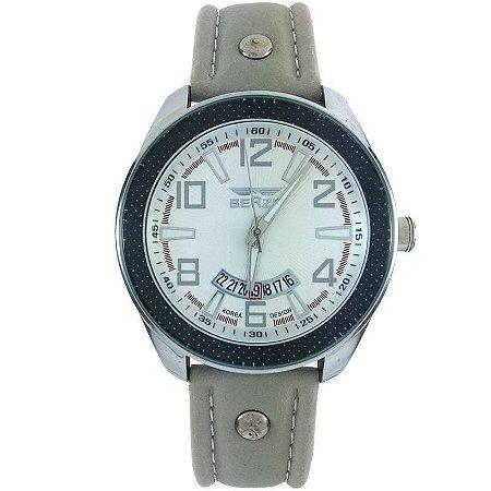Relógio Masculino Analógico Social Berze BT173 Cinza e Branco-
