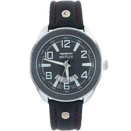 Relógio Masculino Analógico Social Berze BT173 Preto e Vermelho-