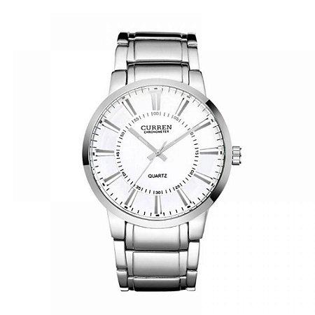 Relógio Masculino Curren Analógico 8001 - Prata e Branco