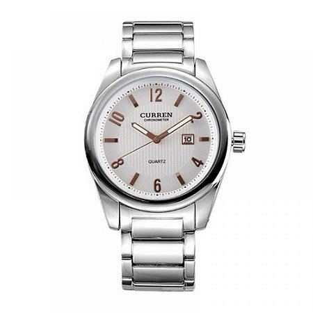 Relógio Masculino Curren Analógico 8048 - Prata, Branco e Dourado