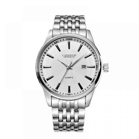Relógio Masculino Curren Analógico 8052 Prata e Branco