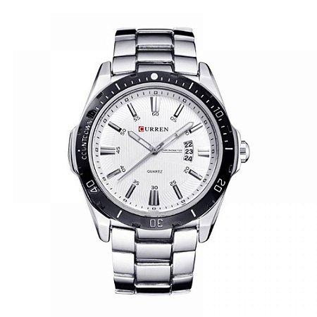 Relógio Masculino Curren Analógico 8110 - Prata e Branco