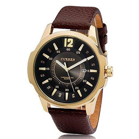 Relógio Masculino Curren Analógico 8123 Dourado-