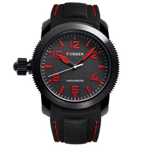 Relógio Masculino Curren Analógico 8173 Preto e Vermelho-