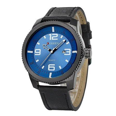 Relógio Masculino Curren Analógico 8180 - Preto e Azul