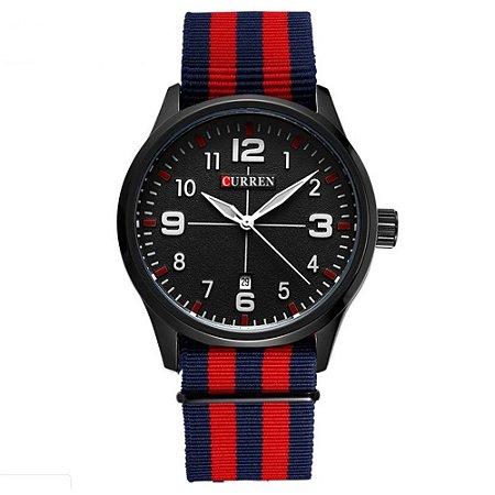 Relógio Masculino Curren Analógico 8195 - Azul e Vermelho