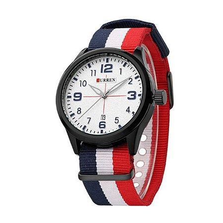 Relógio Masculino Curren Analógico 8195 - Preto, Branco e Vermelho