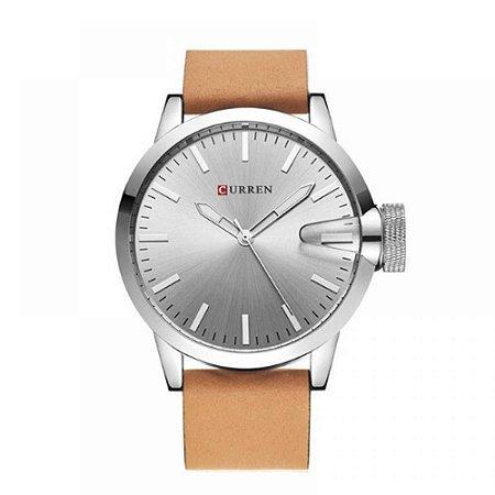 Relógio Masculino Curren Analógico 8208 - Marrom e Prata