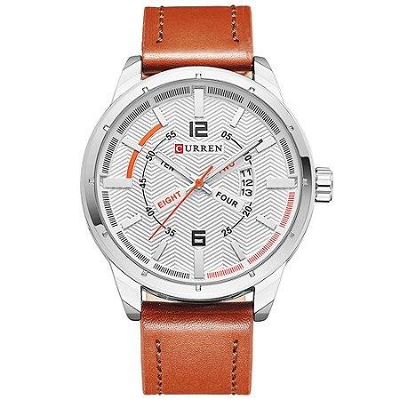 Relógio Masculino Curren Analógico 8211 - Marrom, Prata e Branco