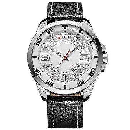 Relógio Masculino Curren Analógico 8213 - Preto, Prata e Branco