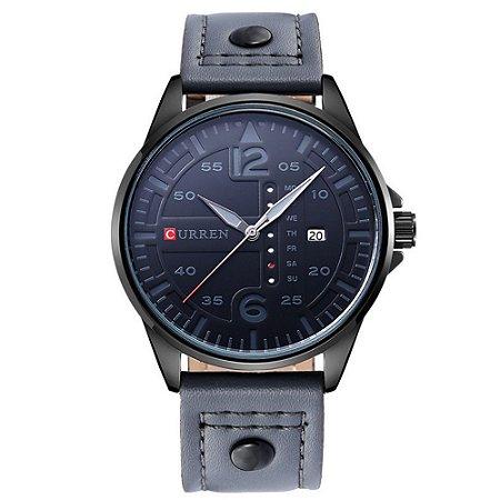 Relógio Masculino Curren Analógico 8224 - Cinza e Preto
