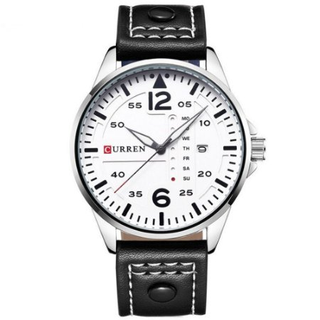 Relógio Masculino Curren Analógico 8224 - Preto, Prata e Branco