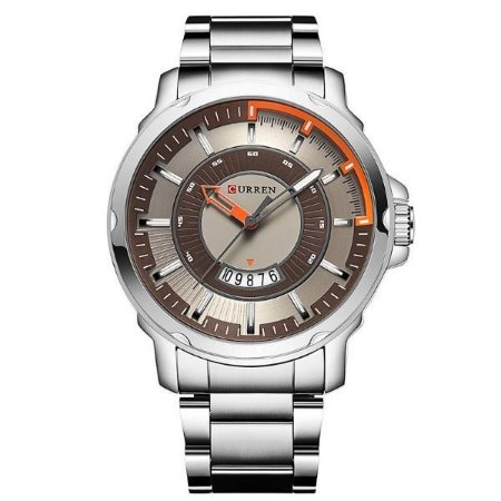 Relógio Masculino Curren Analógico 8229 - Prata, Marron e Laranja-