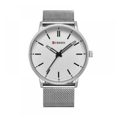 Relógio Masculino Curren Analógico 8233 - Prata e Branco