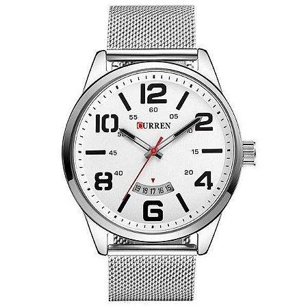 Relógio Masculino Curren Analógico 8236 - Prata e Branco