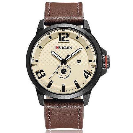 Relógio Masculino Curren Analógico 8253 Bege-