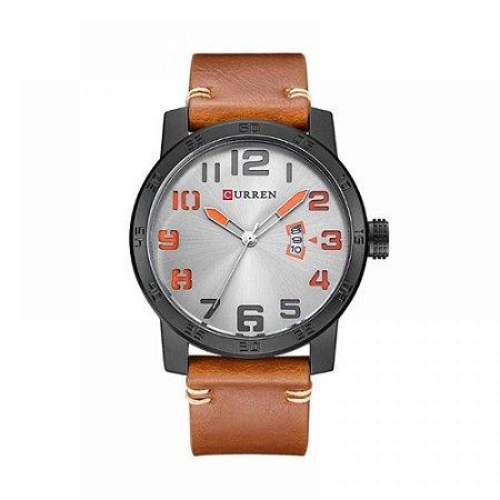Relógio Masculino Curren Analógico 8254 - Marrom, Preto, Cinza e Laranja