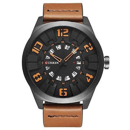 Relógio Masculino Curren Analógico 8258 - Marrom, Preto e Laranja
