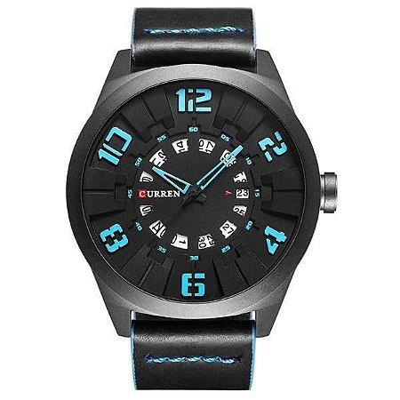 Relógio Masculino Curren Analógico 8258 - Preto e Azul