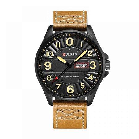 Relógio Masculino Curren Analógico 8269 - Bege e Preto